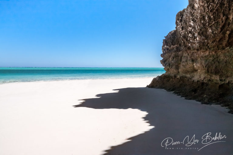 Rocky beach of the lagoon