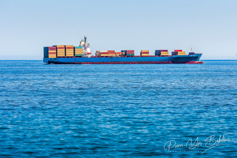 Cargo ship carrying freight containers
