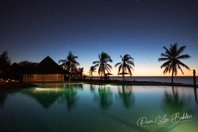 Sunset on swimming pool