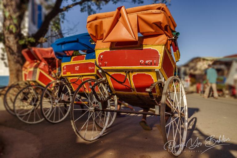 Rickshaws in the downtown of Toamasina